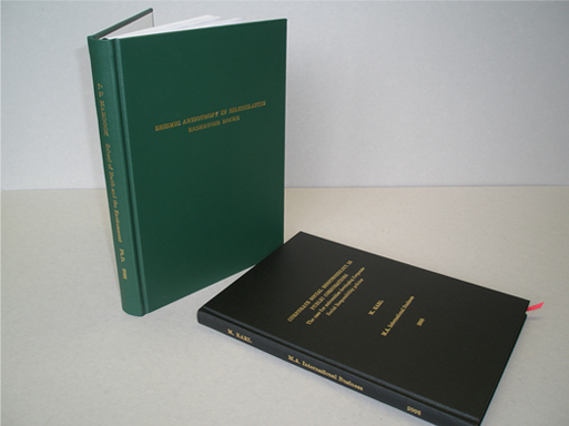 Hard bound thesis binding