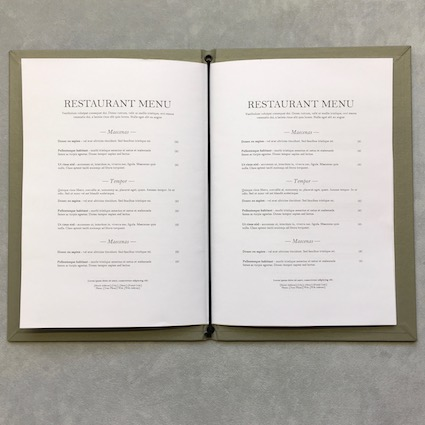 Corded folded menu open