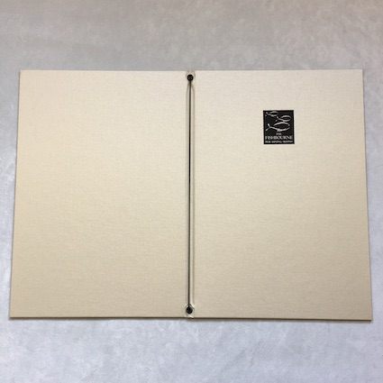 Corded Folded menus front and back